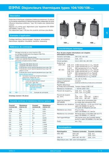 Disjoncteurs thermiques types 104/105/106