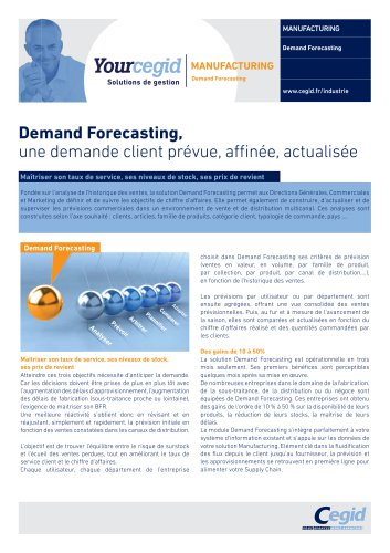 Demand Forecasting, - CEGID - Catalogue PDF | Documentation