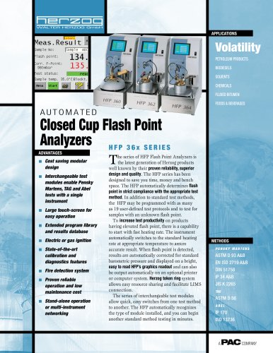 HFP 360 - AUTOMATIC CLOSED CUP PENSKY-MARTENS FLASH POINT ANALYZER