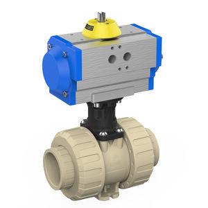 vanne à boisseau sphérique / à commande pneumatique / pour eau potable / en PP