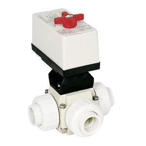 vanne à boisseau sphérique / à actionneur électrique / pour eau potable / en T