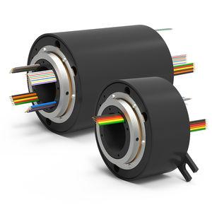 collecteur tournant électrique / à axe creux / avec contacts en or / multivoie
