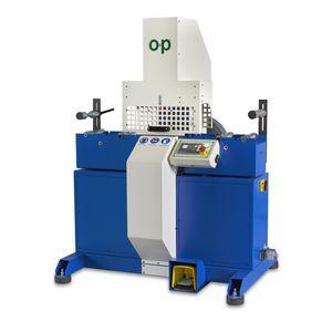 machine de découpe pour caoutchouc / à lame rotative / de tuyau flexible / contrôlée par PLC