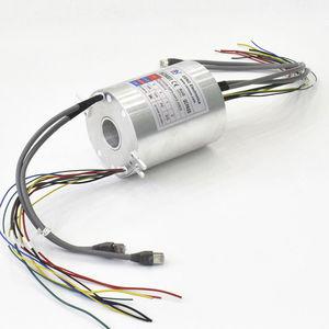 collecteur tournant via Ethernet / Gigabit Ethernet / avec passage au centre / pour instrument de mesure