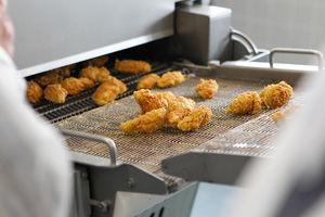 friteuse industrielle en continu / à viande / à convoyeur / à hauteur réglable