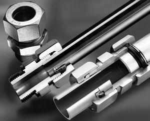 raccord à bague coupante / droit / hydraulique / en acier