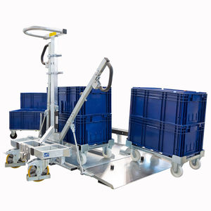 chariot de manutention / en acier galvanisé / pour bacs de stockage / pour plateaux roulants