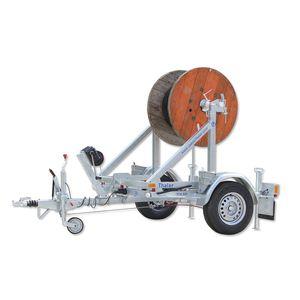 remorque à 1 essieu / pour transport et pose de tuyaux / porte tourets / basculante
