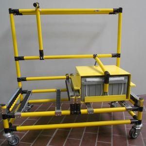 chariot de transfert / en métal / pour batterie / à roulettes