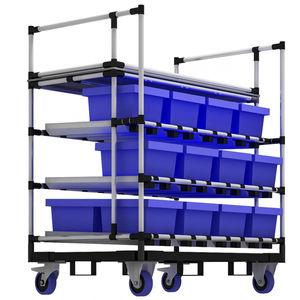 chariot de stockage / en métal / à étagères / porte-bacs