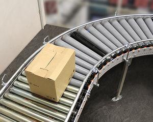 convoyeur à rouleaux / pour caisses / pour conteneur / pour barquettes