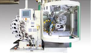machine de sérigraphie automatique / à 9 couleurs / pour produits cylindriques / rotative