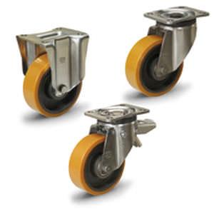 roue à bandage / enduite polyuréthane / en fonte / pour charges lourdes