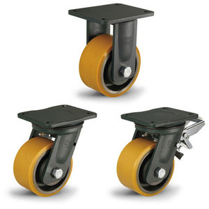 roulette fixe / à platine / très fortes charges / en acier