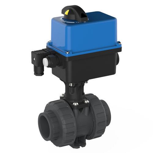 vanne à boisseau sphérique / à actionneur électrique / pour eau potable / en PVC