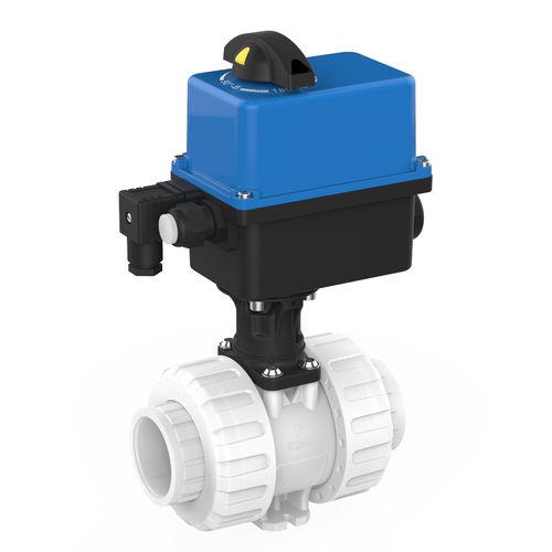vanne à boisseau sphérique / à actionneur électrique / pour eau potable / en PVDF