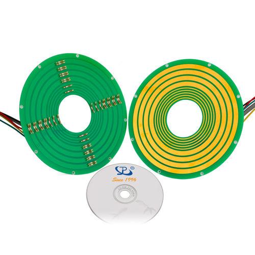 collecteur tournant électrique / type pancake / de circuit imprimé / pour emballage