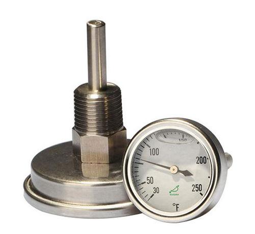 thermomètre bimétallique / à cadran noyé / à visser / en acier inoxydable