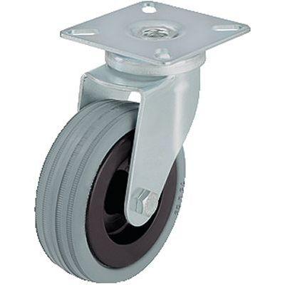 roulette pivotante / à platine / à pneumatique / avec pare-fils