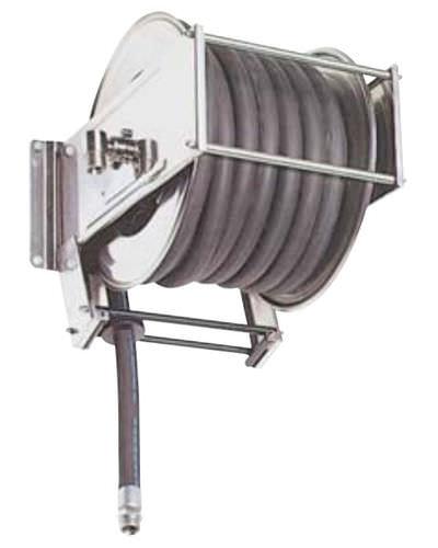 enrouleur de tuyau de nettoyage / à rappel automatique / fixe / en inox