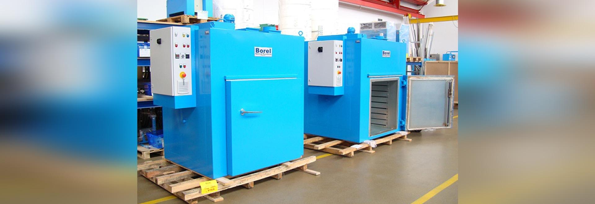 Etuves industrielles ventilées BOREL Swiss, 1000 litres, 350°C, pilotage centralisé, industrie textiles synthétiques Benelux
