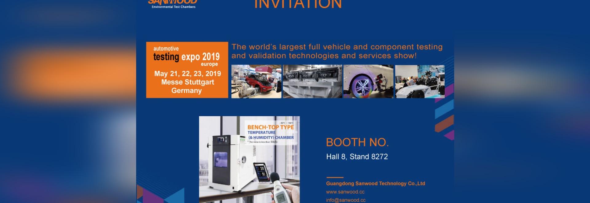 Sanwood Invitation à l'Expo 2019 sur les essais automobiles