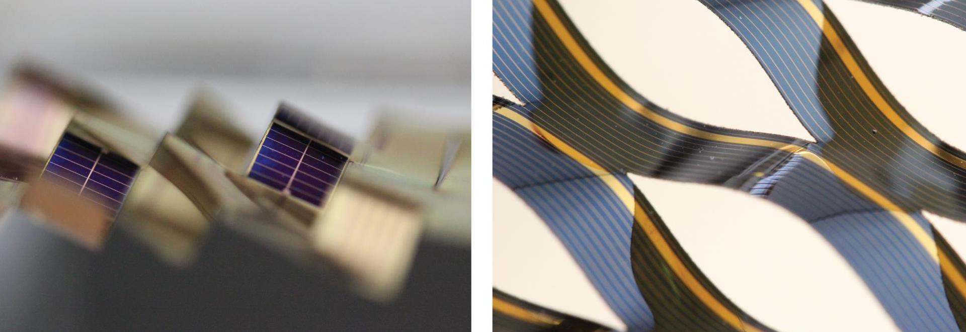 Les structures dynamiques de kirigami capables du cheminement solaire, se composant monolithiquement intégré, mono-cristallin pourtant flexible, les piles solaires d'arséniure de gallium sur le pol...