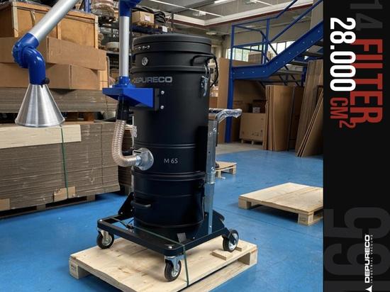 aspirateurs industriels - M65 avec bras d'aspiration articulé et capot réglable avec contrôle du débit d'air.