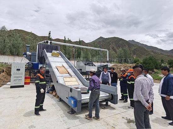 Ligne de production de déchets encombrants de Lhassa en Chine