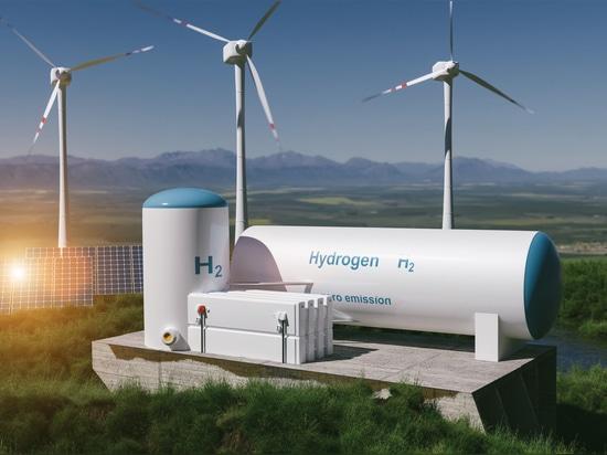 Production d'hydrogène à partir d'énergies renouvelables - hydrogène gazeux pour une électricité propre - installation solaire et éolienne. Rendu 3d.