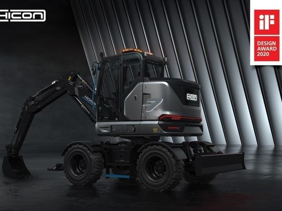 La pelle sur pneus 100% électrique HICON 7 W de HİDROMEK a remporté son deuxième prix de design