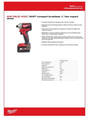 M18 CBLID-402C   M18™ compact brushless ¼˝ Hex impact