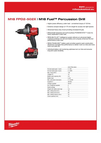 M18 FPD2-502X   M18 Fuel™ Percussion Drill