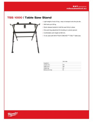 TSS 1000   Table Saw Stand
