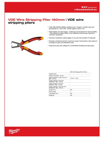 VDE Wire Stripping Plier 160mm   VDE wire