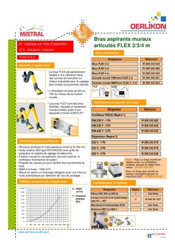 Bras aspirants muraux articules FLEX 2/3/4