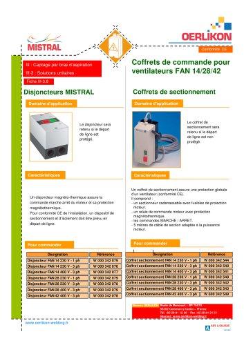 Coffrets de commande pour ventilateurs FAN