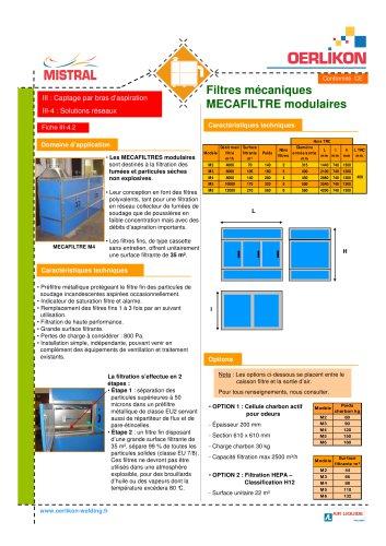 Filtre fixe mécanique unitaire SFS à cart
