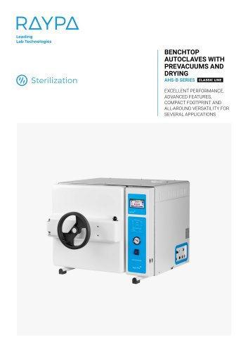 BENCHTOP AUTOCLAVES WITH DRYING AND PREVACUUMS - AHS-DRY SERIES