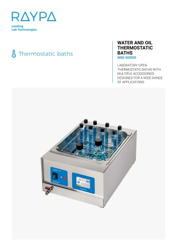 THERMOSTATIC BATHS FOR THE LABORATORY - WBD SERIES