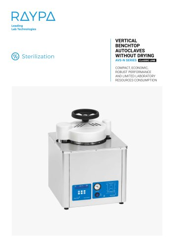 VERTICAL BENCHTOP AUTOCLAVES WITHOUT DRYING - AVS-N SERIES