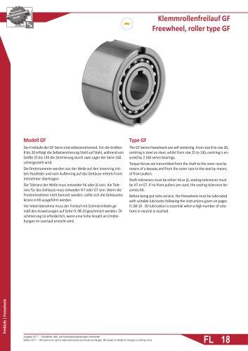 Freewheel, roller type GF