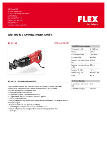 RS 13-32 Scie sabre de 1 300 watts à vitesse variable