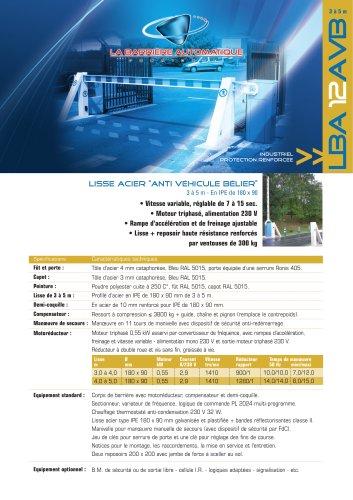 LBA 12 AVB (LISSE acier anti véhicule bélier 3 à 5 m - En IPE de 180 x 90)
