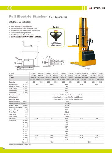 i-Lift/Hu-Lift Full Electric Stacker FK/BK