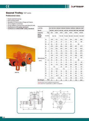 MATERIAL HANDLING EQUIPMENT/I-LIFT/GEARED TROLLEY/SG SERIES