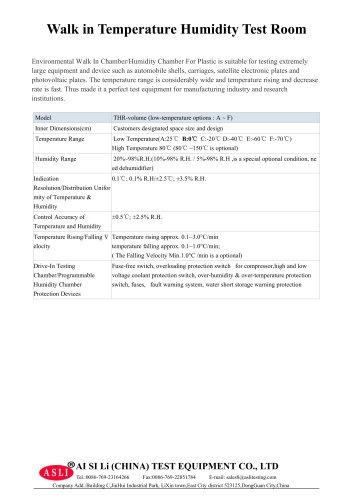 climatic test cabinet / humidity and temperature / temperature / alternating  THR-Volume