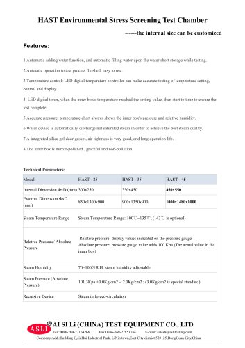 environmental stress screening test chamber / high-pressure / aging / temperature HAST-45