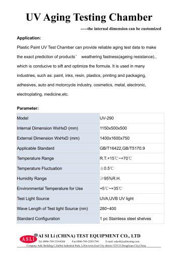 environmental test chamber / photostability / solar simulation / UV light aging UV-Volume