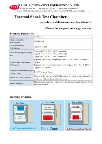 environmental test chamber / stability / thermal shock / stainless steel TS-80-A
